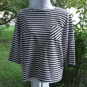 Merona Black and White Striped Top